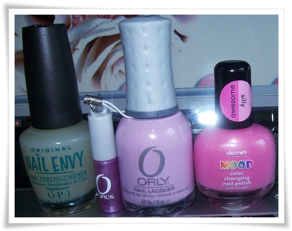 Nail Envy(O.P.I) Lolipop(Orly) Awesome/Silly(Claire´s mood new collection)